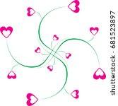 swirl doodle heart shaped... | Shutterstock .eps vector #681523897