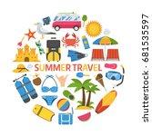 summer travel icon set in... | Shutterstock . vector #681535597