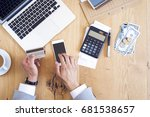 hands holding credit card and... | Shutterstock . vector #681538657