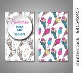 set of stylized summer holidays ... | Shutterstock .eps vector #681543457