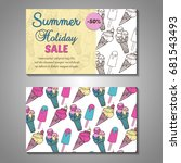 set of stylized summer holidays ... | Shutterstock .eps vector #681543493