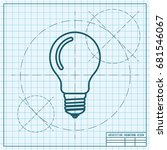 vector blueprint lightbulb icon ... | Shutterstock .eps vector #681546067