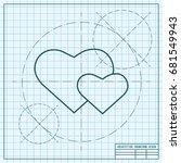 vector blueprint two hearts... | Shutterstock .eps vector #681549943