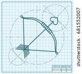 vector blueprint amour arrow... | Shutterstock .eps vector #681552007