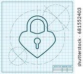 vector blueprint lock heart... | Shutterstock .eps vector #681552403