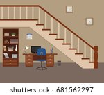 workplace located under the... | Shutterstock .eps vector #681562297