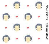 cute cartoon hedgehog seamless... | Shutterstock .eps vector #681567937