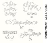 set of vector inscriptions on... | Shutterstock .eps vector #681570883