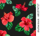 red hibiscus tropical flowers... | Shutterstock .eps vector #681574717
