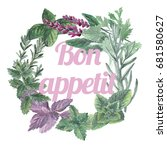 watercolor herbs wreath card ... | Shutterstock . vector #681580627