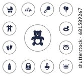 set of 13 child icons set... | Shutterstock .eps vector #681589267