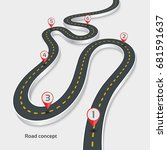 winding 3d road infographic... | Shutterstock .eps vector #681591637