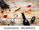 wine set with bottle and grape... | Shutterstock . vector #681609433