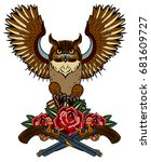 flying owl with a  roses and...   Shutterstock .eps vector #681609727