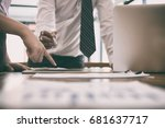businesswoman working with... | Shutterstock . vector #681637717