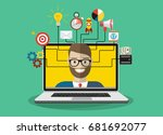 digital marketing vector... | Shutterstock .eps vector #681692077