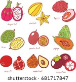 colorful hand drawn set with... | Shutterstock . vector #681717847