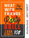 color vintage grill party banner | Shutterstock .eps vector #681718837