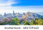 landscape of castles is covered ...   Shutterstock . vector #681729163