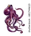 red octopus silhouette... | Shutterstock . vector #681744613