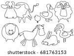 farm animals one line drawing | Shutterstock .eps vector #681763153