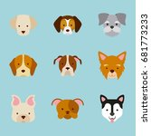 icon set love dogs | Shutterstock .eps vector #681773233