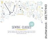 sewing classes banner design...   Shutterstock .eps vector #681797443