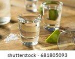 alcohol mezcal tequila shots...   Shutterstock . vector #681805093
