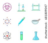 dangerous research icons set.... | Shutterstock .eps vector #681809047