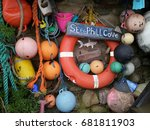 colorful nautical flotsam and... | Shutterstock . vector #681811903