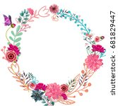 card with flowers and ferns... | Shutterstock . vector #681829447