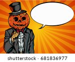 halloween pumpkin in a pop art... | Shutterstock .eps vector #681836977