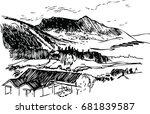 black and white mountain... | Shutterstock .eps vector #681839587