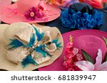 many hats from the sun. women's ...   Shutterstock . vector #681839947