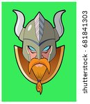 viking logo   a head shot of a... | Shutterstock .eps vector #681841303