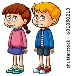 boy and girl with sad faces... | Shutterstock .eps vector #681850213