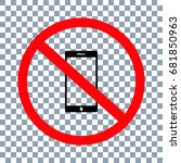 no cell phone sign on... | Shutterstock .eps vector #681850963