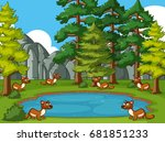mongooses living by the pond... | Shutterstock .eps vector #681851233