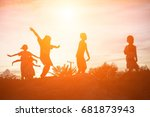 silhouette of a happy children... | Shutterstock . vector #681873943