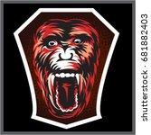 angry monkey face illustrator | Shutterstock .eps vector #681882403