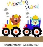 funny animal ride tractor.... | Shutterstock .eps vector #681882757