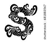 zentangle stylized alphabet.... | Shutterstock .eps vector #681883567