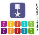 medal star icons set vector... | Shutterstock .eps vector #681885007
