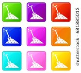 shovel in coal icons of 9 color ... | Shutterstock .eps vector #681885013