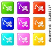 excavator icons of 9 color set... | Shutterstock .eps vector #681885367