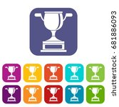 gold cup icons set vector... | Shutterstock .eps vector #681886093