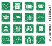 spy tools icons set in grunge... | Shutterstock .eps vector #681886267