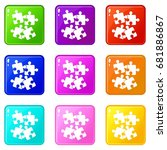 jigsaw puzzles icons of 9 color ... | Shutterstock .eps vector #681886867