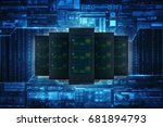 3d rendering database storage... | Shutterstock . vector #681894793