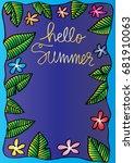 hello summer background.... | Shutterstock .eps vector #681910063